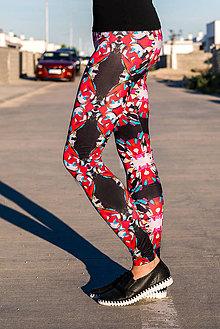 Nohavice - Farebné elastické legíny s motívom autorského obrazu: Srdce II. - 8260688_