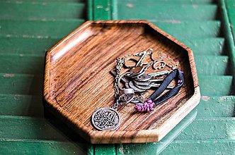 Nádoby - Drevená miska tácka tanier Osemuholník | Octagon Wooden key and wallet tray - 8263005_