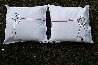 Úžitkový textil - Zamilované podušky - láska cez telefón - 8262103_