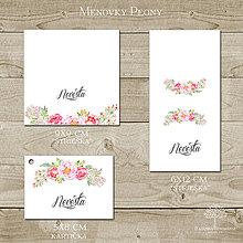 Papiernictvo - Menovky na svadobný stôl Peony - 8262769_