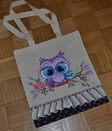Nákupné tašky - ručne maľovaná tašky - sovy - 8262992_