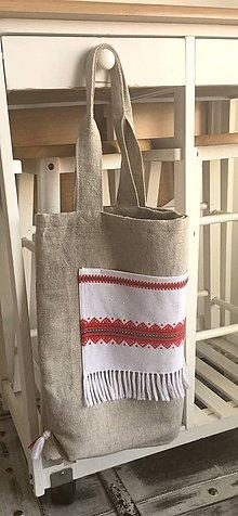 Nákupné tašky - Podšitá ľanová nákupná taška - 8261679_