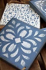 Pomôcky - Drevené dlaždice v modrom - 8260137_