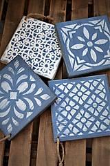 Pomôcky - Drevené dlaždice v modrom - 8260138_