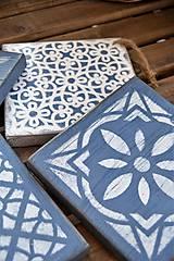 Pomôcky - Drevené dlaždice v modrom - 8260139_