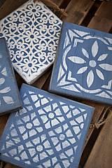 Pomôcky - Drevené dlaždice v modrom - 8260140_