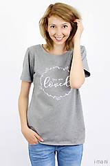 Tričká - Dámske tričko sivý melír LOVED - 8261404_