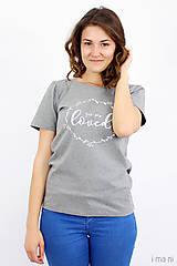 Tričká - Dámske tričko sivý melír LOVED - 8261405_