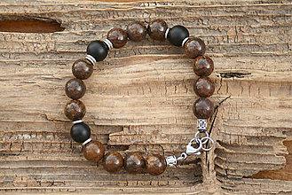 Šperky - Pánsky náramok bronzit a onyx - 8263274_