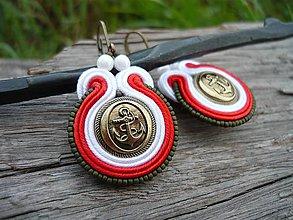 Náušnice - Soutache náušnice Námornické Retro Kotvy Červeno-biele - 8266235_