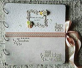 Papiernictvo - Originálny luxusný romantický ružovo biely veľký svadobný fotoalbum - 8266143_