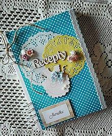 Papiernictvo - Modrý bodkovaný receptárik - 8266319_