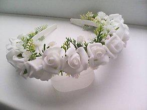 """Ozdoby do vlasov - Kvetinová čelenka do vlasov """"...biele ružičky..."""" - 8263496_"""