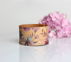 Náramky - Hortensia - ručne maľovaný kožený dámsky náramok - 8266426_