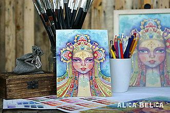Obrazy - Dievča a všehomír 15x20cm Art Print - 8266101_