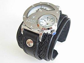 fbf49f2ad Náramky - ˇSteampunk čierne kožené dual time hodinky - 8265927_