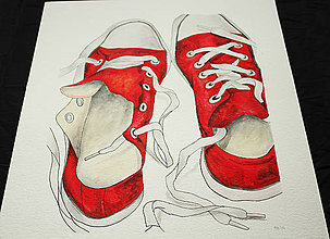 Obrazy - Červené maľované tenisky - 8263396_