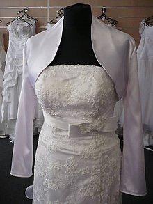 Iné oblečenie - Bolerko saténové - biele,lesklé - dlhý rukáv - 8264542_