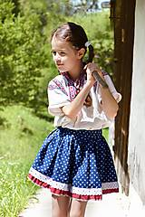 Sukňa detská modrá s krajkou Folklór