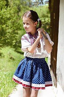 Detské oblečenie - Sukňa detská modrá s krajkou Folklór - 8263531_