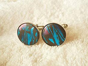 Šperky - Manžetové gombíky z polyméru, modrý lesk - 8264494_