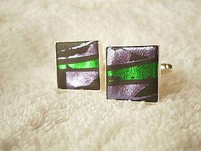 Šperky - Manžetové gombíky z polyméru, fialovo-zelené - 8264528_