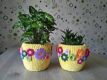 Nádoby - Háčkovaný košík - kvetináč - 8268091_
