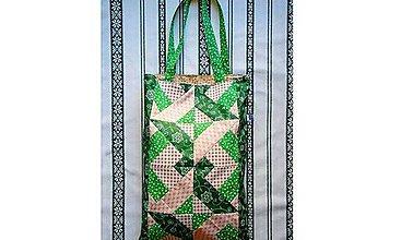 Nákupné tašky - Látková taška - patchwork zelená - 8268438_