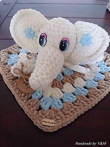 Hračky - Háčkovaný mojkáčik sloník - 8268331_