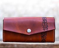 Peňaženky - Priestranná kožená peňaženka - FOLK - 8268104_