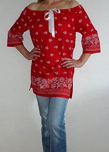 Košele - Košeľa Bordúra Folk červená - 8270251_