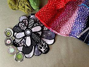 Materiál ručne robený - Textilné kvety čierno-biele - 8270268_