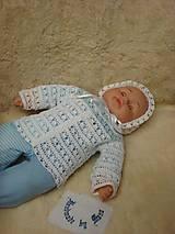 Detské súpravy - Háčkovaná bielo modrá detská súprava pre novorodeniatko - 8268878_