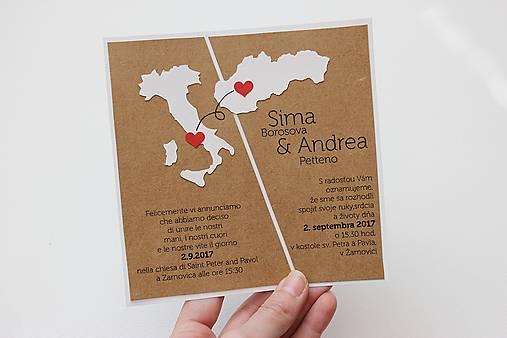 Svadobné oznámenie s mapkami