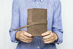 - Ručne viazaný kožený zápisník Kristofer / čisté strany - 8269594_