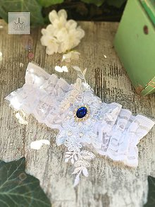 Bielizeň/Plavky - Luxusný svadobný podväzok Kráľovská modrá - 8269933_