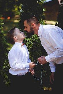Doplnky - Otec a syn - drevené motýliky - 8273085_