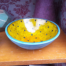 Nádoby - Stredná tyrkysovo-žltá misa - 8271857_