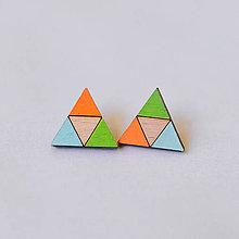 Náušnice - veselé trojuholníky - napichovačky - 8274687_