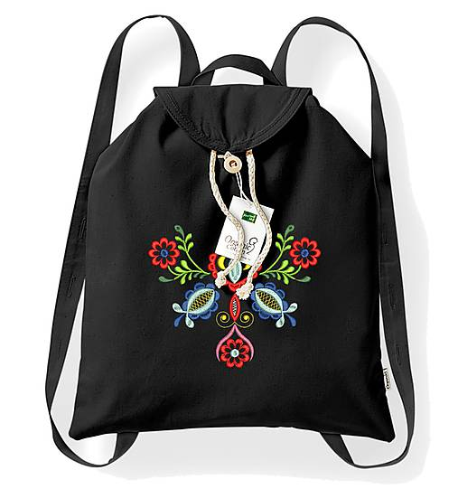Bavlnený festivalový ruksak, čierny, výšivka Vajnory