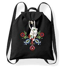 Batohy - Bavlnený festivalový ruksak, čierny, výšivka Vajnory - 8273846_