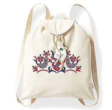 Batohy - Bavlnený festivalový ruksak, natural, výšivka Nitrianske Pravno - 8273847_