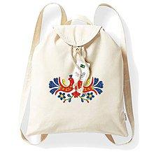 Batohy - Bavlnený festivalový ruksak, natural, výšivka Jablonica - 8273852_