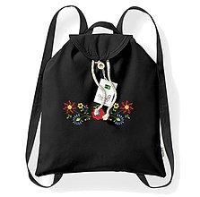 Batohy - Bavlnený festivalový ruksak, čierny, výšivka Viničné - 8273858_