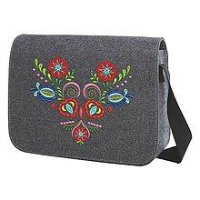 Kabelky - Plstená taška na rameno, výšivka Vajnory - 8273899_
