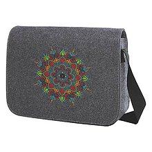 Kabelky - Plstená taška na rameno, výšivka Kruh - 8273900_