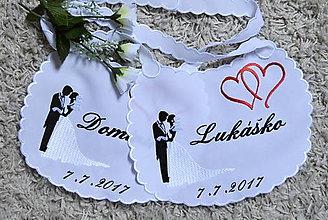 Iné doplnky - svadba -podbradníky vyšívané - 8274845_