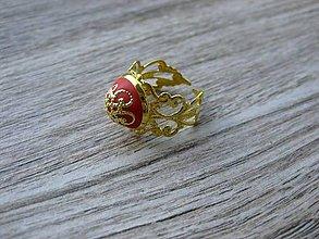 Prstene - Filigránový prsteň (červený č.961) - 8271761_