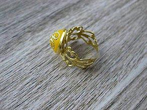 Prstene - Filigránový prsteň (žltý horčicový č.967) - 8272447_