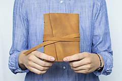 - Ručne viazaný kožený zápisník Hugo / čisté strany - 8272514_